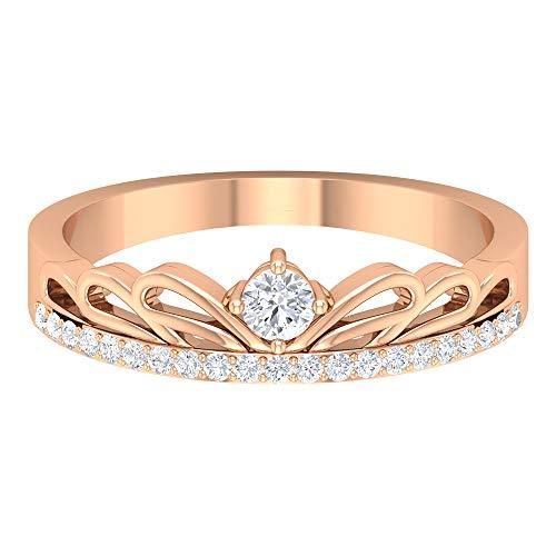 Anillo de compromiso de oro sólido de 14 quilates con corona de diamante SGL certificado, tiara art déco HI-SI, anillo de compromiso de aniversario para madre, oro rosa de 14 quilates, tamaño: UK Z+2