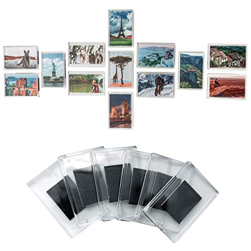Set de 20 Marcos de Fotos en Blanco con Imán para Refrigerador por Kurtzy - Marcos Acrílico Transparente con Inserto Para Foto de Tamaño 7cmx4,5cm- Fotos Familiares,Trabajos de Arte y Diversión Niños