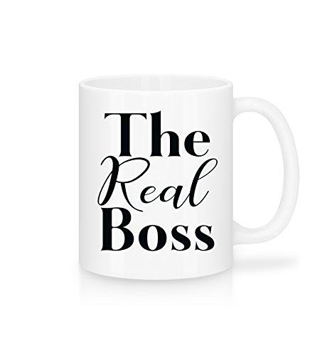 Shirtinator Geschenk Tasse mit Spruch I The Real Boss I Geschenkidee-n für Freund Freundin Mama Chef Geburtstag Mutteratg I Keramik, 325ml, weiß
