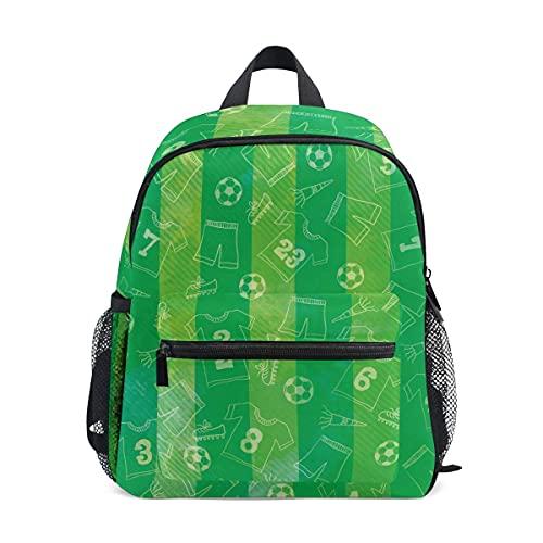 VJSDIUD Mochila Verde Acuarela Rayas Fútbol Camiseta de fútbol Patrón de tela Estampado Mochilas escolares Mochila para niño niña