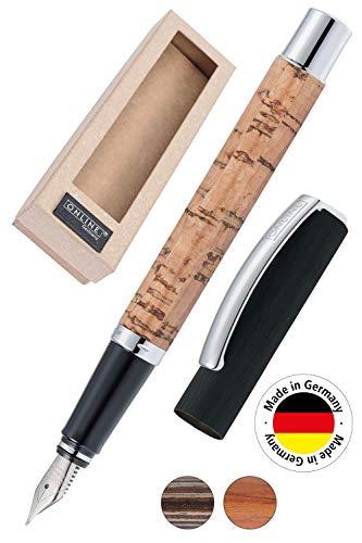 ONLINE Füller Vision Cork, Füllfederhalter aus Aluminium mit Holzveredelung, Iridiumfeder M, für Standard-Tintenpatronen und Konverter geeignet, in Geschenkverpackung
