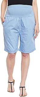 oxolloxo Women's Cotton Maternity Shorts (Sky Blue)