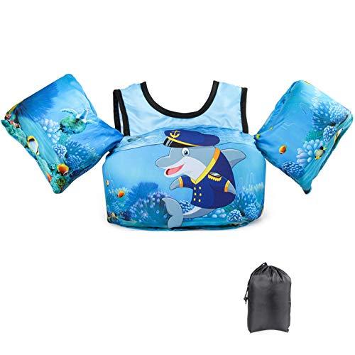 JEVDES Schwimmflügel Schwimmweste mit Schultergurt für Kinder Kleinkinder von 2-7 Jahre 15-30kg Schwimmen Lernen Schwimmhilfe mit verschiedenen Designs für Jungen und Mädchen (Captain Dolphin)