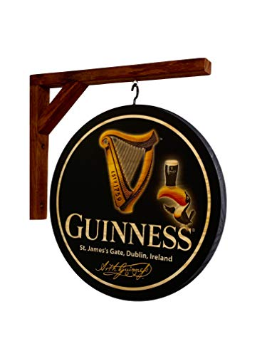 Guinness Double Sided Pub Sign -12 inch diameter solid wood sign and wall hanging bracket - INDOOR USE ONLY
