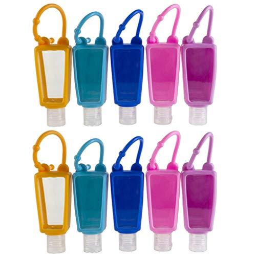Pixnor 10 Sätze Parfüm Reiseflaschen Schlüsselanhänger mit Silikon Hülle 30ml Weihnachten Mitgebsel Plastik Flip Cap Flasche Leere Seifenspender Shampoo Handgel Duschgel Reisebehälter