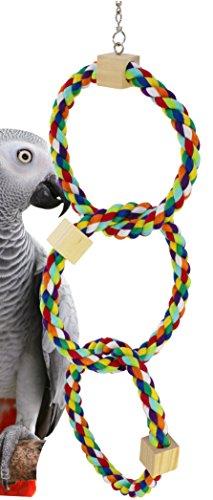 Bonka Bird Toys 1678 Tri Rainbow Ring Swing Perch Parrot African Grey Cockatiel Conure