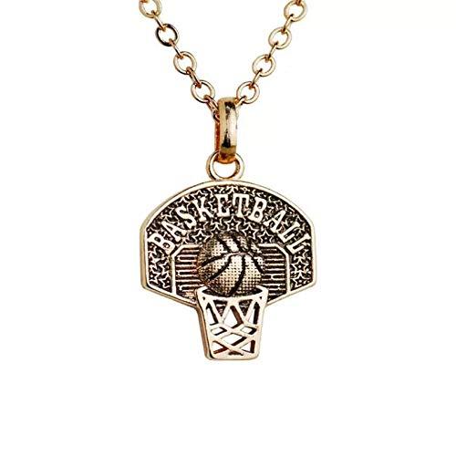 N/A Halskette Anhänger Vintage Basketball Anhänger Sport Halskette Winzig für Frauen Goldfarbe Fan Schmuck Fitness Charm Halloween Weihnachtsgeburtstagsfeiergeschenk