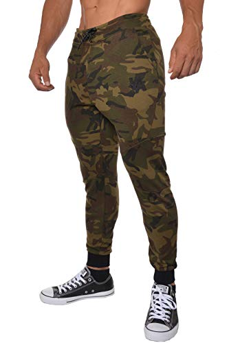 YoungLA Slim Fit Joggers for Men | French Terry Cotton Skinny Tapered Sweatpants | Gym Sports Activewear Workout Clothes 202 Camouflage Green XX-Large