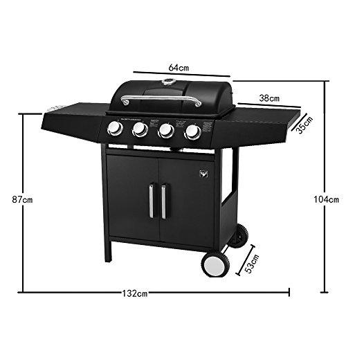Deuba El Toro® Gas Burner Grill Laredo   4 Main Burners   Freestanding   Storage   Stainless Steel BBQ   Barbecue   Piezo Ignition   500°C Temperature Resistant Powder Coating