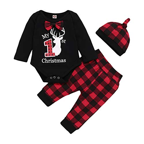 My First Christmas Outfit Baby Boy Bow Tie Romper Bodysuit Xmas Plaid Pants Clothes Set (Black, 0-3 Months)
