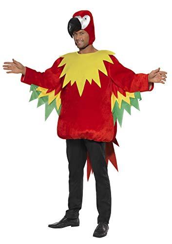 Smiffys, Herren Papagei Kostüm, Tunika und Kapuze, Größe: M, 35317