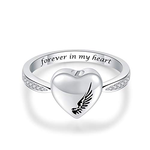JXJL Cremation Urn for Ashes Memorial Jewelry 925 Sterling Silver Ashes Keepsake Angel Wing Urn Ring
