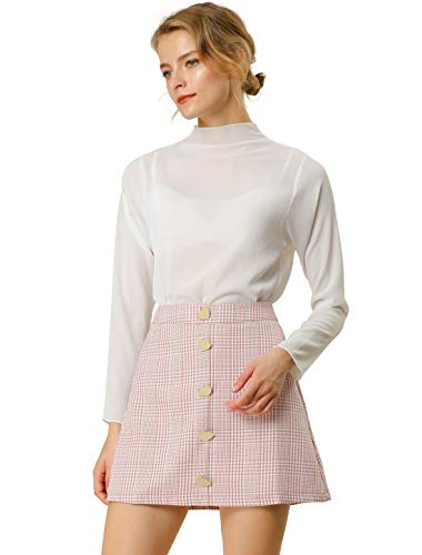 Allegra K Mini Falda A-Línea De Cuadros De Pata De Gallo Decoración del Botón del Corazón Cintura Alta para Mujeres Rosa XS