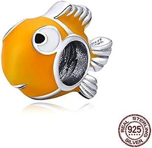 MZNSQB Encanto Genuino del Metal del pez Payaso del Esmalte Amarillo de Plata esterlina 925 para la Pulsera de Plata Original Brazalete DIY joyería