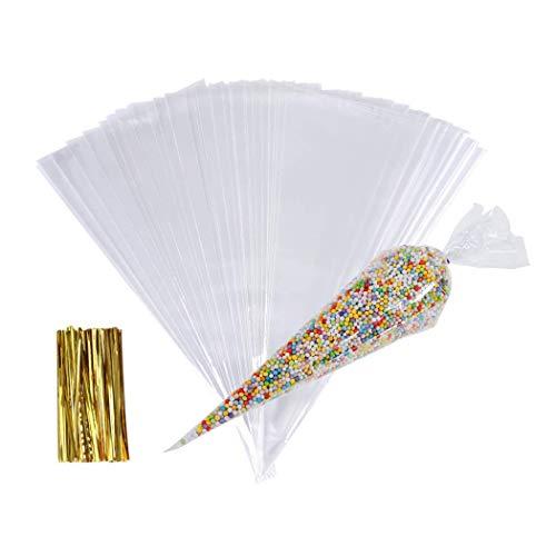 Bolsa de Celofán de Cono,100 Pcs Bolsas de Celofán de Transparente para Chuches con Lazos de Torsión, Plástico Bolsas para Cumpleaños Fiesta, para Galletas Caramelo Dulces Regalos Piruletas,13*25cm