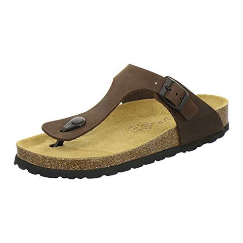 AFS-Schuhe 2107, modische Zehentrenner Damen Sandale aus Leder, Bequeme Pantoletten mit Fussbett Made in Germany (39 EU, braun/Mocca)