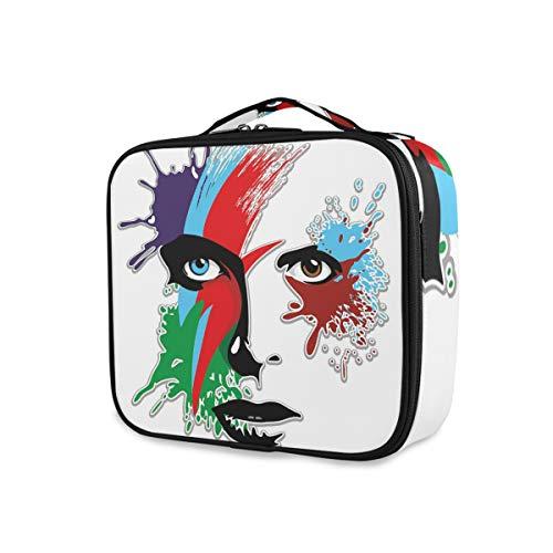 SUGARHE Bowie 'Eyes Ziggy Stardust Expression Ispirazione Grafica ispirata Spruzzi colorati,Beauty,Borsa Cosmetica Portatile Professionale per Trucco per