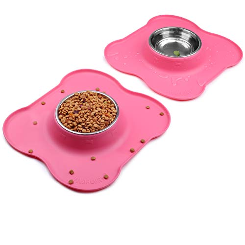 VIVAGLORY Small Dog Bowls Set, 2 Pack Puppy Bowls with Non Spill Silicone...