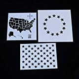 SUPVOX 11pcs American Flag Stencil Templates Plastic Flag Stencil Stars Flag Template for Painting on Wood, Fabric, Paper, Airbrush, Walls Art