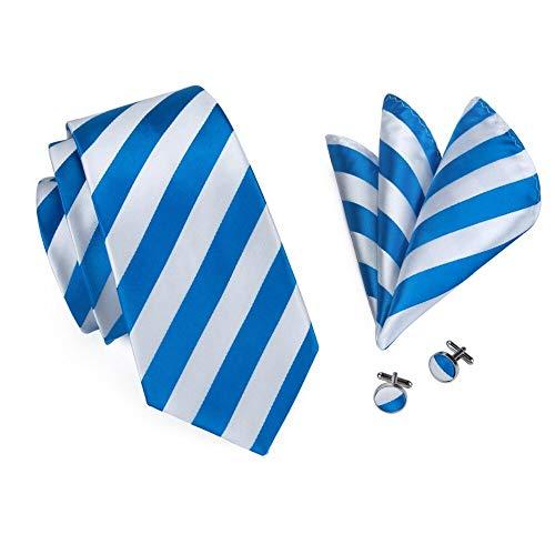 KDSXMLS Blau Weiß Gestreifte Krawatte Einstecktuch Manschettenknöpfe Sets Männer 100% Seidenkrawatten Für Männer Formelle Hochzeitsfeier Bräutigam