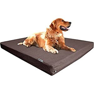 Dogbed4less Extra Large Orthopedic Waterproof Durable Dog Bed for Medium to Large Dogs with Cool Memory Foam Pad, Denim in Brown, Fit 48X30 Crate