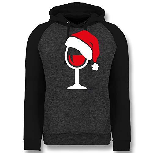 Weihnachten & Silvester - Weinglas mit Weihnachtsmütze - M - Anthrazit meliert/Schwarz - Geschenk - JH009 - Baseball Hoodie