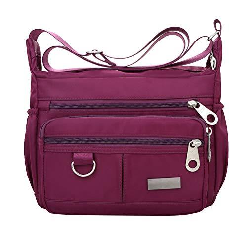 Bolsa carteiro de ombro único de tecido Oxford simples para lazer grande capacidade bolsa transversal feminina (roxa)