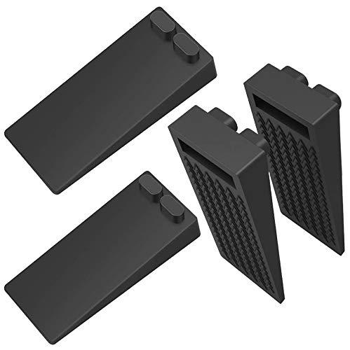 Tope de Puerta para Suelo, [Set de 4] Cuña Puerta de Goma Antideslizante Protección de Pared y Muebles Negro
