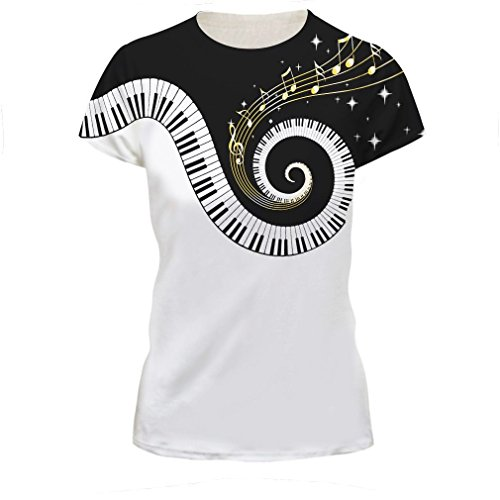 Huilinzeng Women's 3D Digital Printed Lion Skull Casual Personality T-Shirts Small Music Piano #4