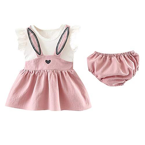 Ropa Bebe Niña Recien Nacido Verano 0 a 3 6 12 18 24 Meses - 2PC/Conjunto - Vestido de Oreja de Conejo de Dibujos Animados + Pantalones Cortos