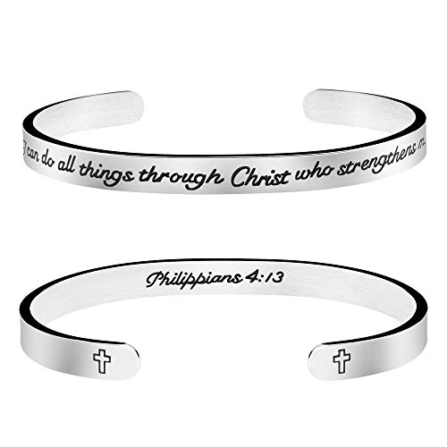 Joycuff Inspirational Christian Jewelry Scripture Bracelet Bibe Verse Cuff Bangle I can do All Things Through Christ who Strength me