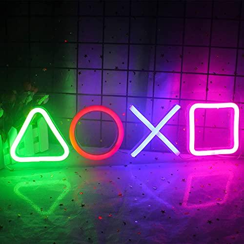 Playstation Icon Letreros de neón Juego de luz de neón para Sala de Juegos Hombre Cueva Accesorios de decoración de Dormitorio y Luces LED PS, Adecuado para Regalos de Jugador