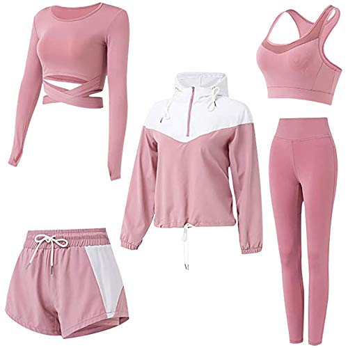 Fauean Damen 5-Teiliger Yoga-Anzug,Bekleidung Yoga Set,Sportanzüge Activewear-Set weich und bequem Schnelltrocknend Laufen Joggen Fitness Workout Trainingsanzug,Gym Outfit WorkoutSportbekleidung