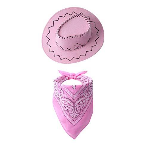dPois Kinder Mädchen Jungen Cowboyhut Hut aus Filz mit Bandana Halstuch Rollenspiel Cowboy Cowgirl Verkleidung Zubehör für Party Karneval Fasching Pink One Size