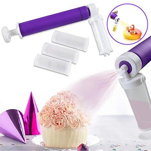 Kuchen dekorieren Airbrush Zubehör, Mini Air Brush Spritzpistole mit 4 Pumpen für Anfänger Kunst Malerei Tattoo Kuchen dekorieren Backformen, Kuchen dekorieren Werkzeuge