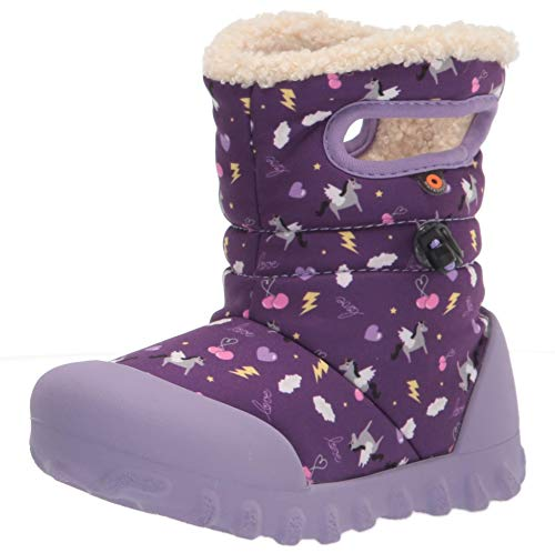 Apakowa Kids Girls Insulated Fur Winter Warm Snow Boots (Toddler/Little) (Color : Purple, Size : 8 M US Toddler)