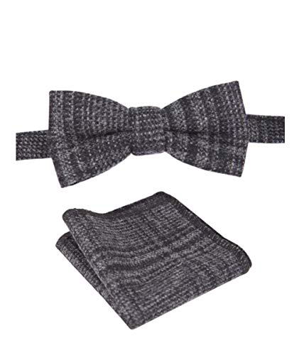 SIRRI Tweed Karo Fliege mit Taschentuch in Anthrazitgrau für Kinder Jungen von Flamingo