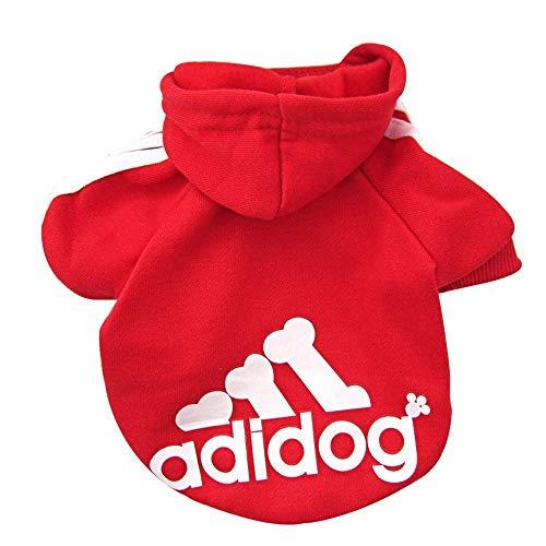 Rdc Pet Adidog Sweat à capuche pour chien vêtements polaire pull à capuche basique veste en coton sweat-shirt manteau pour petit chien chien moyen chat (Rouge,XS)