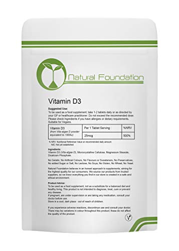 Vitamin D3 Tablets 1000ui Bone Teeth Brain and Nervous System | 240 Tablets 8 Months Supply | Natural Foundation Supplements
