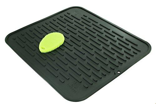 Tapis de séchage XL en silicone et protecteur de comptoir - Hygiénique, antibactérien, passe au lave-vaisselle - Larges stries faciles à nettoyer - Résistant à la chaleur 450° - 45,8 x 40,8 cm - Noir