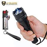Police Flashlight Tazer Heavy Duty Stun Gun Pepper Spray Keychain Self-Defense Kit. Metal Small Stun...