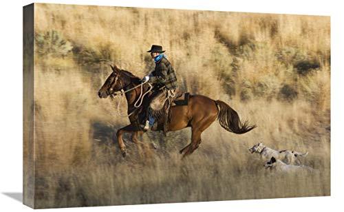 Global Gallery Caballo de Vaquero, seguido por Dos Perros, Oregon, Arte en Lienzo, 61 x 40,6 cm