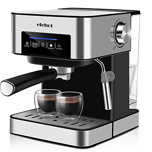 ELEHOT Coffee Makers Espresso Machine with 15 Bar Pump and Milk Frother Stainless Steel,850W (GRAY)