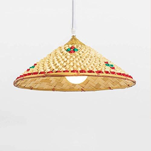KMILE Colgante Luz Cuelga Lámpara de techo Nuevo Chino Mimbre Ratán Sombrero Sombrero Sombra Colgante Luces Japonés Tatami Colgante Lámpara Diseño para Restaurante Bar Comedor Mesa de mesa Habitación