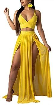 Women Sexy 2 Piece Outfits Dress Chiffon Strap Deep V Neck Bra Crop Top High Split Maxi Dresses Skirt Set Swimwear Cover Ups Yellow M