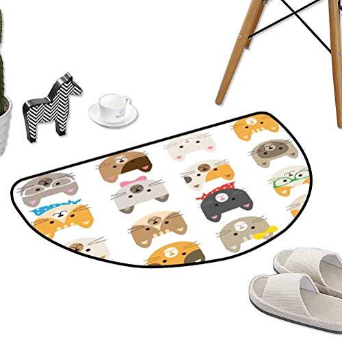 "Kitchen Living Room Floor Mat Cats Costume with Glasses and Bow Tie Bandana Cartoon Artwork Craft Pattern Print W31""x L20"" Half Round Best Floor mats"