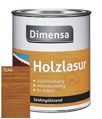 DIMENSA Holzlasur | Wetterschutzlasur | Holzschutzlasur | Premium Qualität | Außen | Aromatenfrei | 0,75l - Teak