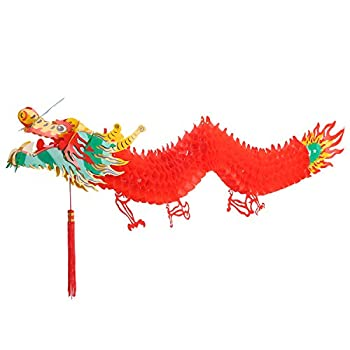 Bememo 3D Chinese New Year Dragon Garland Hanging Decoration  4.92 Feet