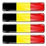 Biomar Labs® 4 x Aufkleber 3D Gel Silikon Stickers Belgium Belgien Flagge Fahne Flag Autoaufkleber F 2
