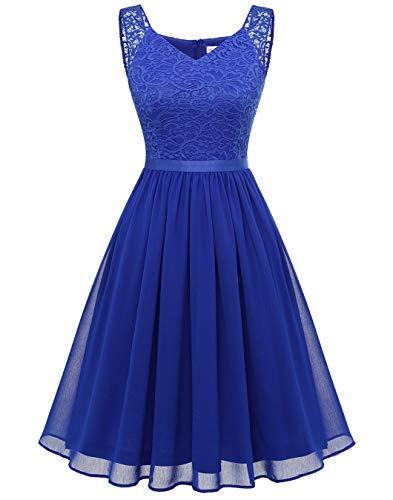 BeryLove Spitzenkleid Damen Abschlusskleid Elegant Cocktailkleid Abendkleid Chiffon Brautjungfernkleid Knielang für Hochzeit Royalblau BLP7023 Royalblue M
